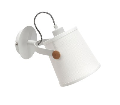 Nordica Wall Lamp With White Shade 1 Light E27, Matt White/Beech With Ivory White Shade