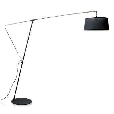 Nordica Floor Lamp E27 With Black Shade, Black/Polished Chrome