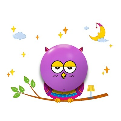 OWL children night wall light 0.6W LED (3xAAA battery operated)
