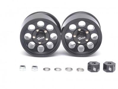 Boom Racing 1.55 Terra Classic 8-Hole Aluminum Beadlock Wheels w/ 3mm Wideners (2) Black