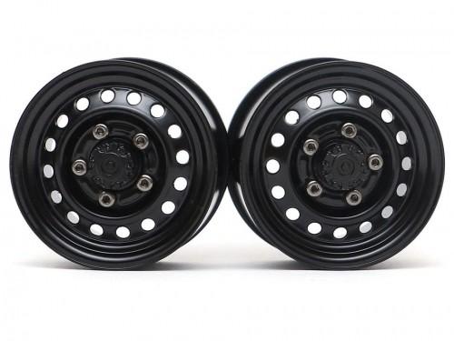 "Boom Racing 1.55"" 16-Hole Classic Steelie Reversible Beadlock Wheels (Front) w/ XT504 Hubs Black"