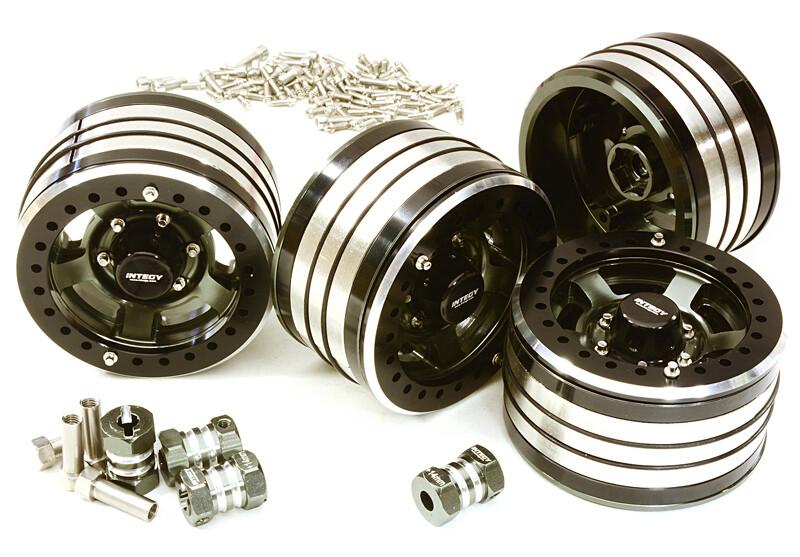Integy 2.2x1.5-in. Machined High Mass Wheel (4) w/14mm Offset Hubs for 1/10 Crawler (Gunmetal) C27034GUN