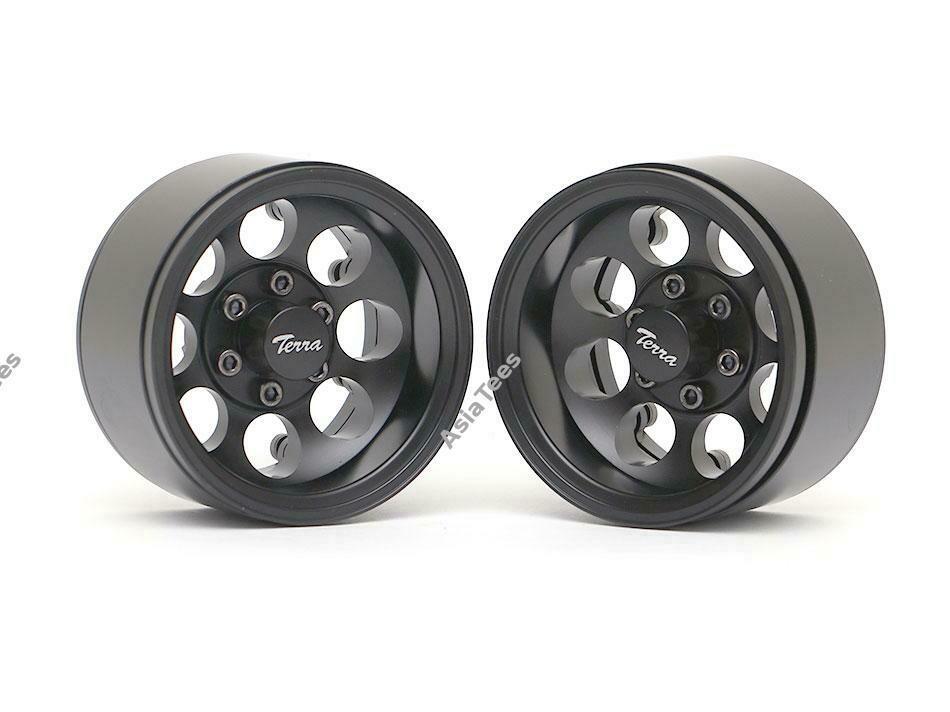 Boom Racing Terra 1.9 Classic 8-Hole Aluminum Deep Dish Beadlock Wheels w/ XT601 Hubs (2) Black