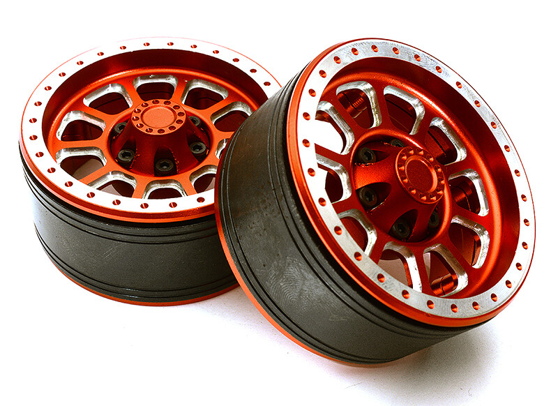 Integy 1.9 Size Billet Machined Alloy 10 Spoke Wheel(2)High Mass Type for Scale Crawler C28954RED