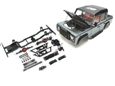 Boom Racing 1/10 D110 Chassis Kit (Without Wheels Tires Shocks) w/ TRC Raffee Defender D110 Pickup Hard Body
