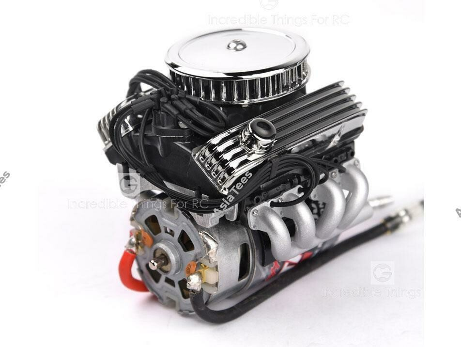 GRC 1/10 Vintage V8 Scale Engine w/ Radiator Motor Cooling Fan Air Filter