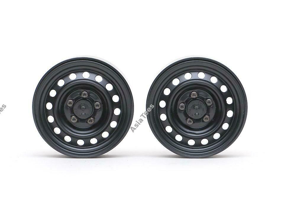 "Boom Racing 1.9"" 16-Hole Classic Steelie Reversible Beadlock Wheel w/ XT504 Hub Front (2) Black"