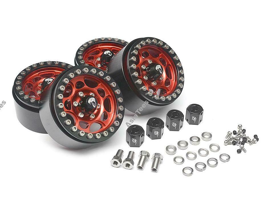 Boom Racing Sandstorm KRAIT™ 1.9 Aluminum Beadlock Wheels with 8mm Wideners (4) [Recon G6 Certified] Red