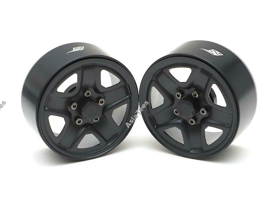 "Boom Racing 1.9"" S200 Steelie Reversible Beadlock Wheels w/ XT504 Hub (2) Black"