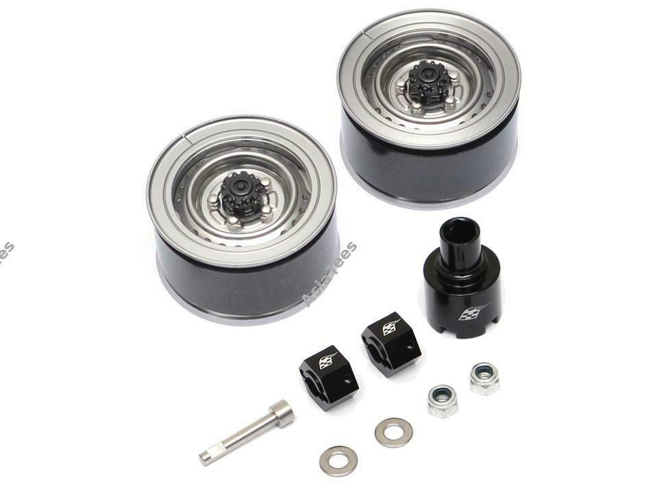 Boom Racing 1.55 Yota LC70 Stock Steelie Beadlock Wheels Front (2) Gun Metal