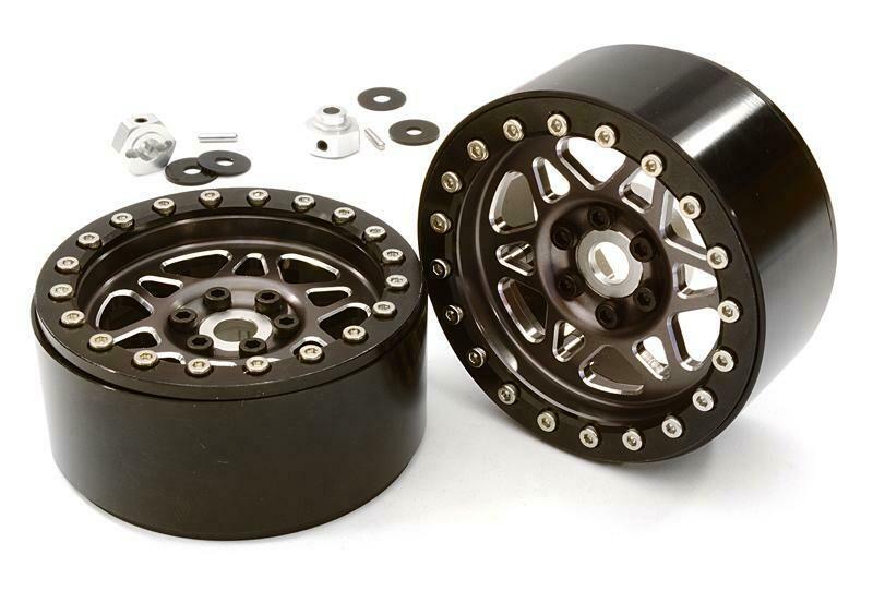 Integy Billet Machined 12 Spoke Off-Road 2.2 Size Wheel (2) for 1/10 Rock Crawler C26762GUN