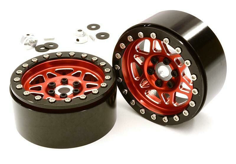 Integy Billet Machined 12 Spoke Off-Road 2.2 Size Wheel (2) for 1/10 Rock Crawler C26762RED