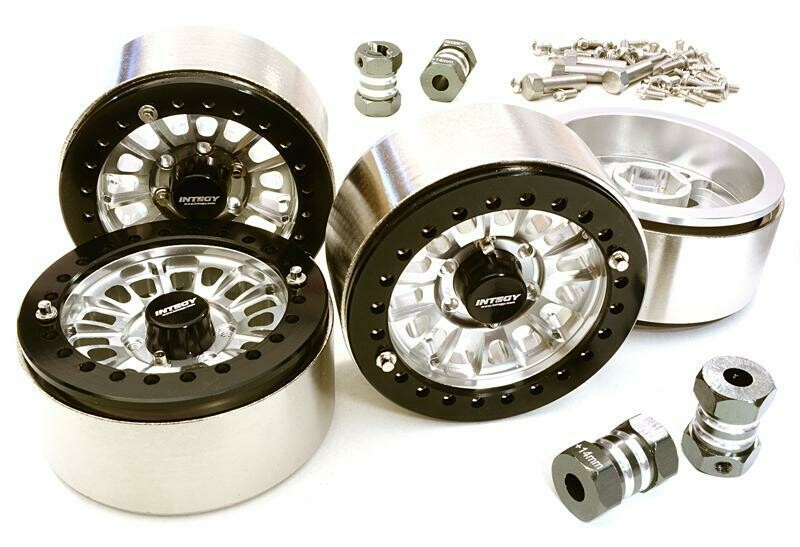 Integy 1.9 Size Machined High Mass Wheel (4) w/14mm Offset Hubs for 1/10 Scale Crawler C27029SILVER