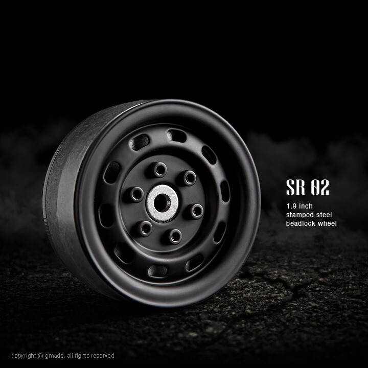 "Gmade 1.9"" SR02 Beadlock Wheels (Matt Black) (2) GMA70174"