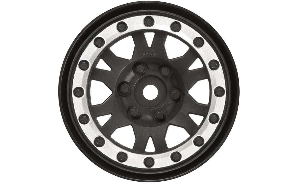"Proline Impulse 1.9"" Black/Silver Plastic Internal Bead-Loc Wheels, for Rock Crawlers, Front/Rear"