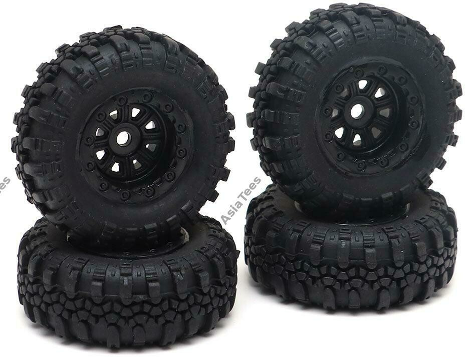 RGT Swamper Tire & Wheel Set (4pcs) Black for ECX Barrage/ FTX Outback/ RGT Adventurer for 1/24 ADVENTURER