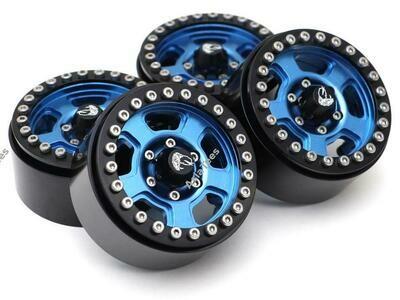 Boom Racing Golem KRAIT™ 1.9 Aluminum Beadlock Wheels with +8mm Widener (4) [Recon G6 Certified] Blue