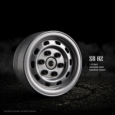 Gmade 1.9 SR02 Beadlock Wheels (Semigloss Silver) (2) GMA70172