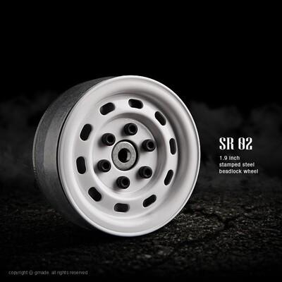 Gmade 1.9 SR02 Beadlock Wheels (Gloss White) (2) GMA70176