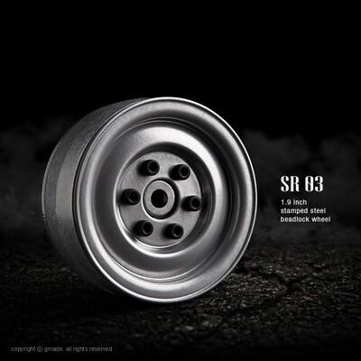 Gmade 1.9 SR03 Beadlock Wheels (Semigloss Silver) (2) GMA70182