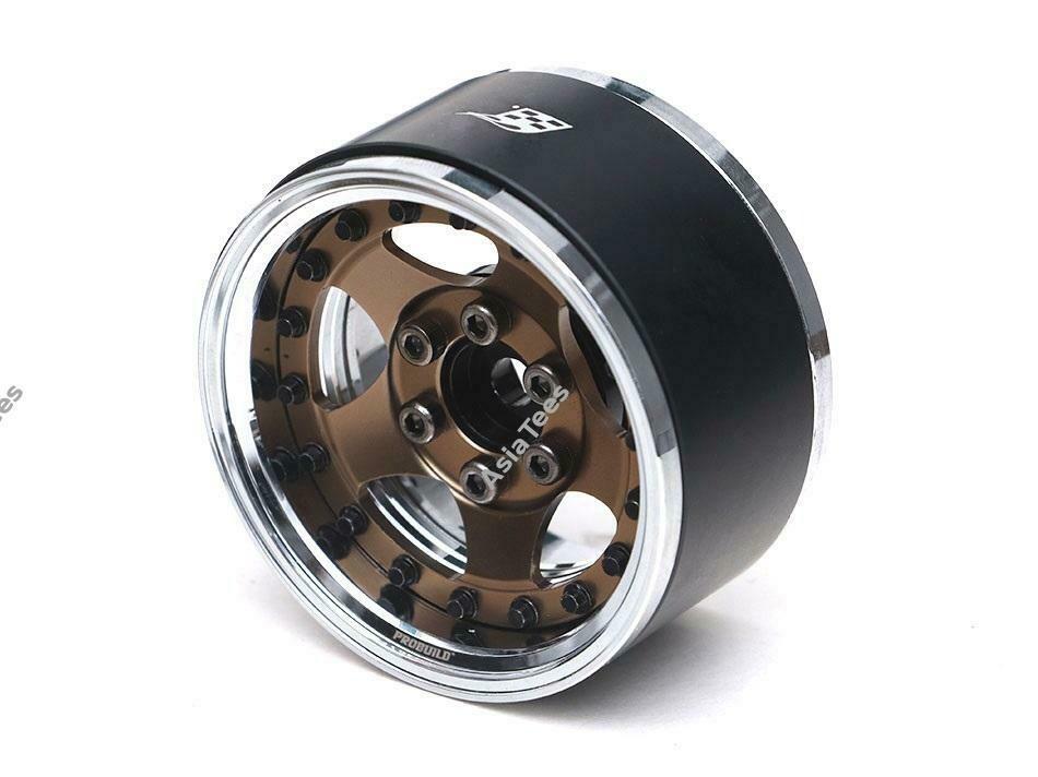 "Boom Racing ProBuild™ 1.9"" SV5 Adjustable Offset Aluminum Beadlock Wheels (2) Chrome/Bronze (Preorder/Prepay)"