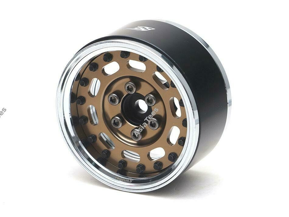 "Boom Racing ProBuild™ 1.9"" MAG-10 Adjustable Offset Aluminum Beadlock Wheels (2) Chrome/Bronze (Preorder/Prepay)"