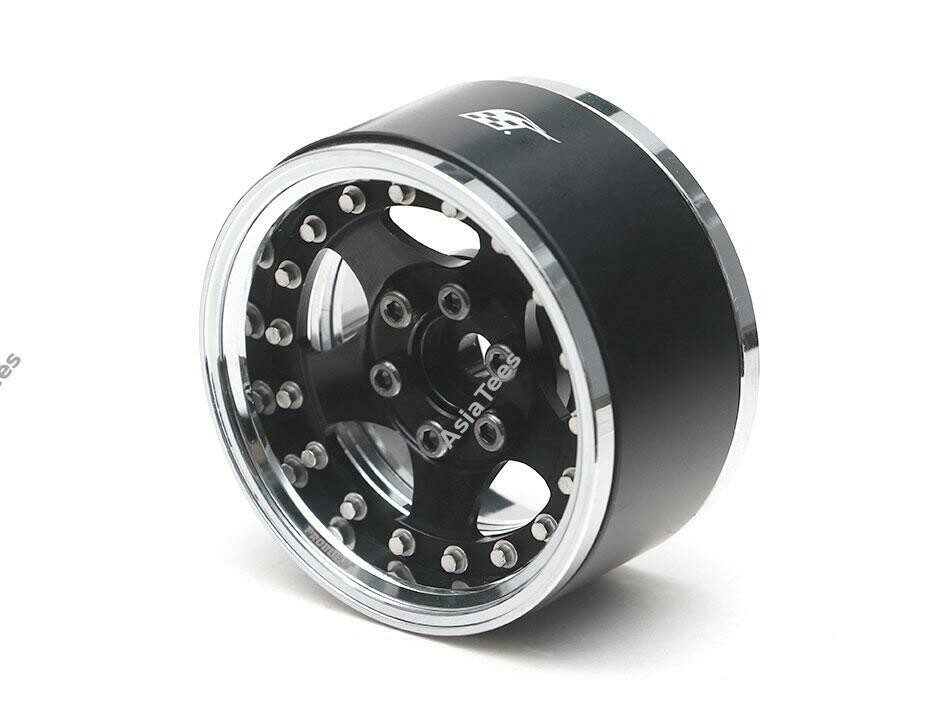 "Boom Racing ProBuild 1.9"" SV5 Adjustable Offset Aluminum Beadlock Wheels (2) Chrome/Black (Prepay/Preorder)"
