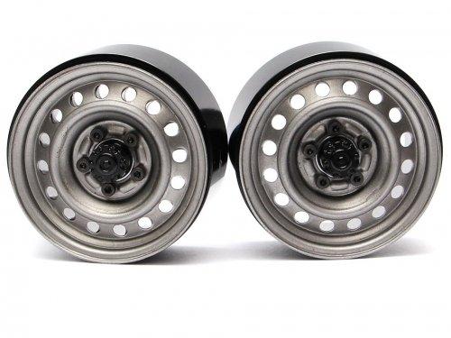 "Boom Racing 1.9"" 16-Hole Classic Steelie Reversible Beadlock Wheel w/ XT504 Hub Rear (2) Gun Metal"