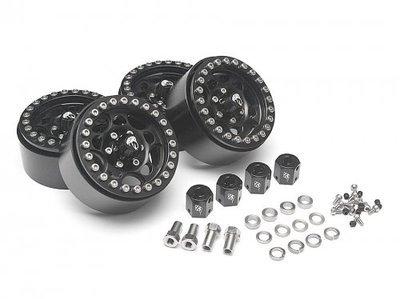 Boom Racing Sandstorm KRAIT™ 1.9 Aluminum Beadlock Wheels with 8mm Wideners (4) Black
