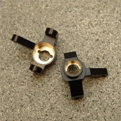 STRC CNC Machined Brass Front Steering Knuckle (1 pair) for Axial SCX10 II (Black)