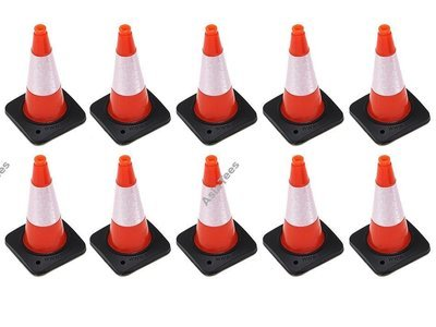 Boom Racing Rubber Traffic Cone w/ Reflective Decal (10) for Trail Marker Orange