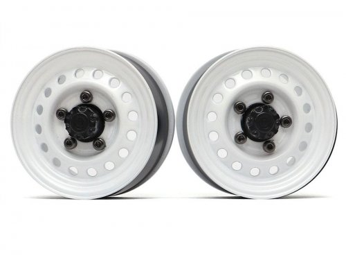 "Boom Racing 1.55"" 16-Hole Classic Steelie Reversible Beadlock Wheels (Front) w/ XT500 Hubs White"