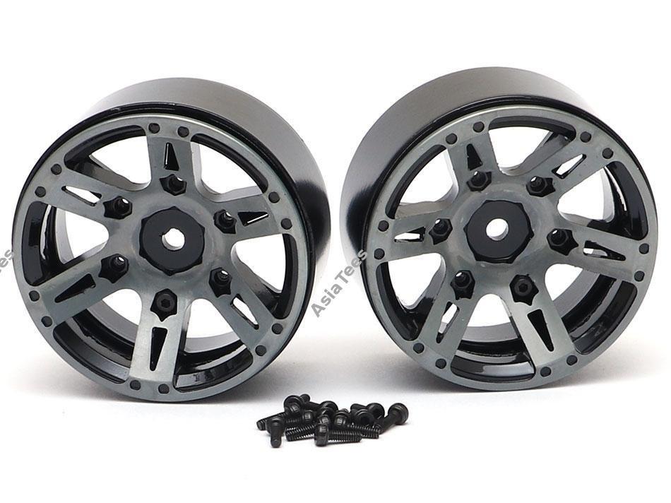 Team Raffee Co. 1.9 High Mass Beadlock Aluminum Wheels Spoke-6 (2) Black
