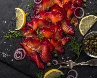 FINS beetroot smoked salmon شرائح سلمون مدخن بالبنجر