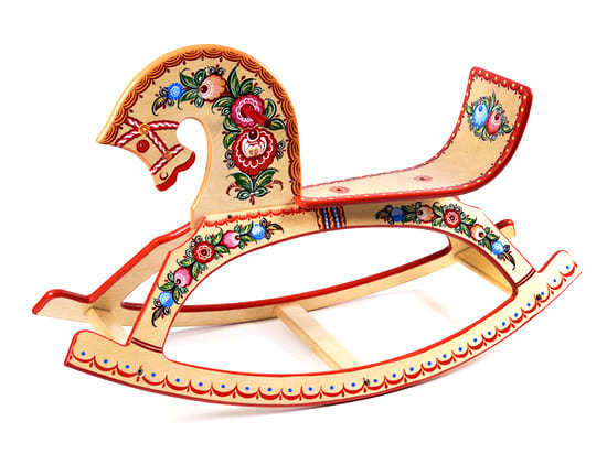 Конь-качалка детская с городецкой росписью