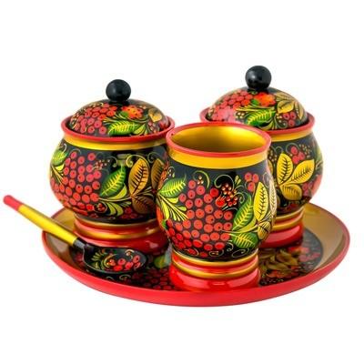 Набор для стола «Цветочек» с хохломской росписью. 5 предметов