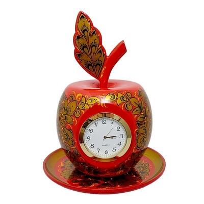 Комплект Яблоко на тарелочке с хохломской росписью