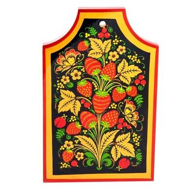 Доска разделочная с хохломской росписью.  280х180х17