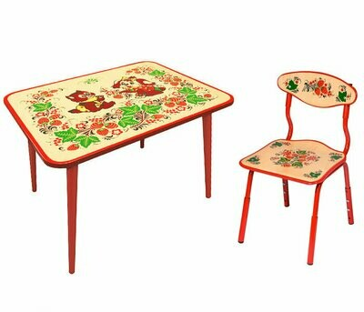 Стол малый и стульчик детский с холодной росписью (РАСТУЩИЙ КОМПЛЕКТ) 1-3 рост.кат.