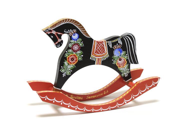 Игрушка с городецкой росписью «Конь-качалка» C11-1759