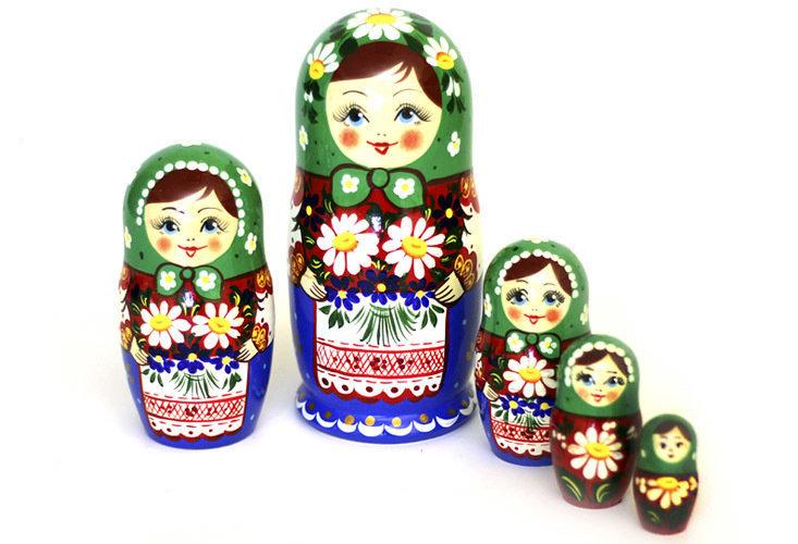Матрёшка Семеновская «Букет ромашек» авторская 5 кукол