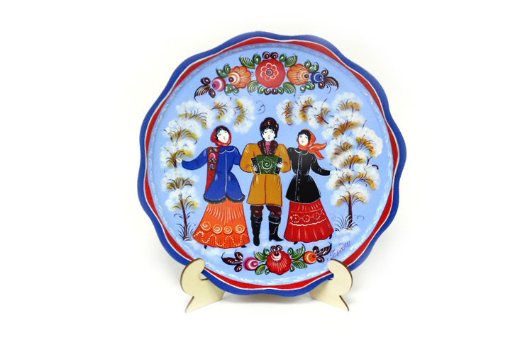 Тарелка-панно с городецкой росписью с11-0009