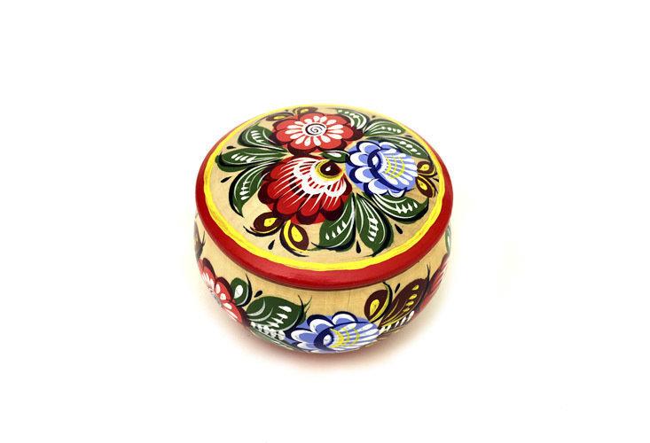 Шкатулка токарная с городецкой росписью с11-1644