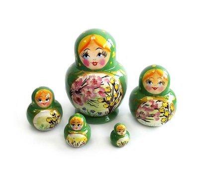 Матрёшка Семеновская «Катюша» весенний пейзаж 5 кукол