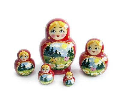 Матрёшка Семеновская «Катюша» летний пейзаж 5 кукол