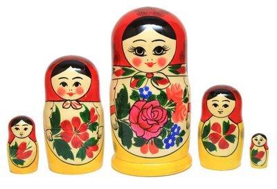 Матрёшка Семеновская «Россияночка» большого размера 5 кукол 16см