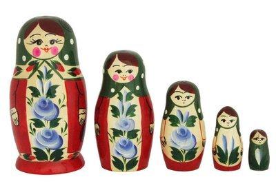 Матрёшка Семеновская с нетрадиционной росписью 5 кукол