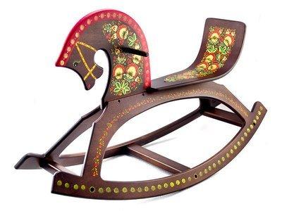 Конь-качалка детская с хохломской росписью