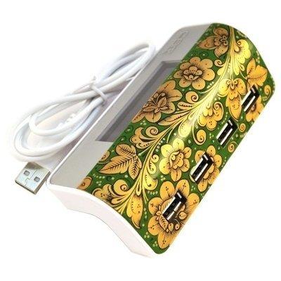Хаб Хохлома, Вернисаж H001-15, USB концентратор c часами, 4 порта, CBR