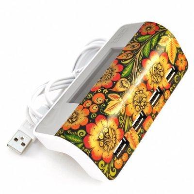 Хаб Хохлома, Вернисаж H001-07, USB концентратор c часами, 4 порта, CBR